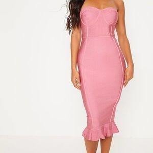 Pretty Little Thing- Rose Frill Hem Bandage Dress
